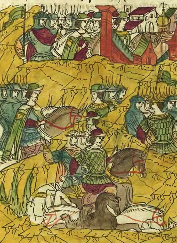 Русские полки преследуют Мухаммед-Гирея. Лицевой летописный свод, т. 23 - «Война двух царей»: шаг вперёд, два шага назад | Warspot.ru