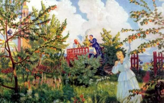 Б. Кустодиев. Яблоневый сад, 1918 | Фото: muzei-mira.com
