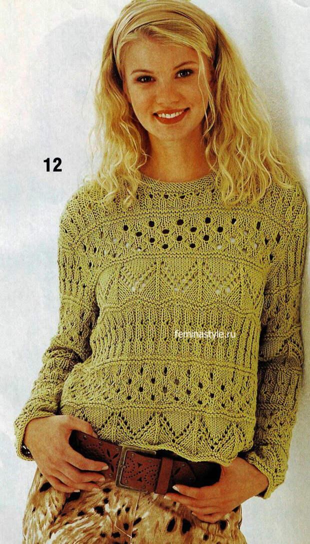 Ажурный пуловер цвета хаки спицами