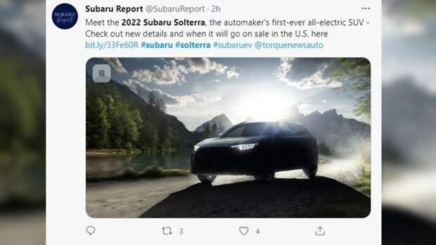 Продажи нового электрокроссовера Subaru Solterra стартуют в 2022 году