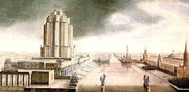 Проект здания Народного Комиссариата тяжелой промышленности (Наркомтяжпром) был заявлен на конкурсной основе в 1934 году. Перед вами – проект братьев Весниных. Этот грандиозный комплекс, занимающий площадь в 4 гектара, должен был располагаться на Красной площади. Конечно, в итоге это привело бы к полной реконструкции центра Москвы, поэтому проект так и не был рассмотрен.