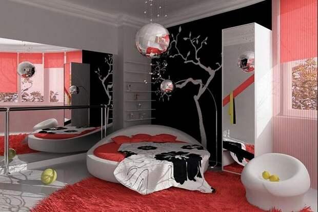 Различные элементы красного и розового цвета отлично подойдут для украшения  интерьера комнаты для девочки-подростка.