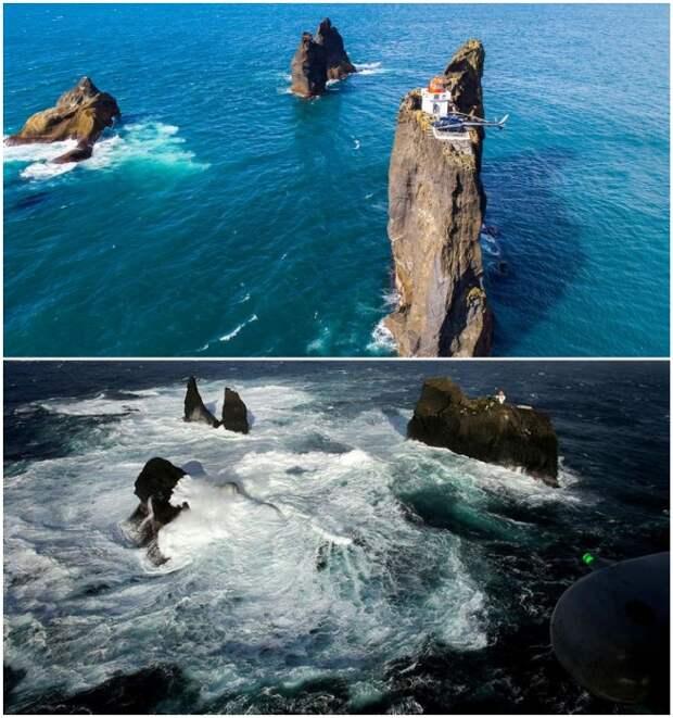 Только счастливчикам выпадает возможность увидеть всю эту красоту собственными глазами (Thridrangar Lighthouse, Исландия). | Фото: portandterminal.com/ siviaggia.it.