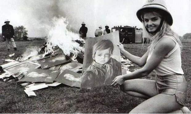 Плачущий мальчик Недорогой оттиск картины «Плачущий мальчик» стал популярным украшением английских домов в начале 1980 годов. В скором времени люди обратили внимание на странную эпидемию пожаров, охватившую один из районов Лондона. Из домов пожарные неизменно выносили именно эту картину, притом совершенно нетронутую огнем.