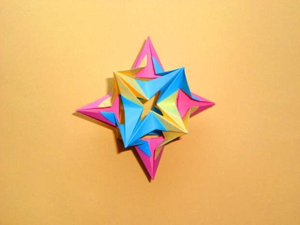 3D Оригами кусудама звезда Модульное оригами из бумаги