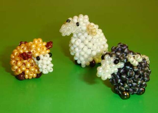 Овечки из бисера со схемой плетения