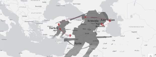 Обнародованы схемы ударов ВКС России по границе с Турцией