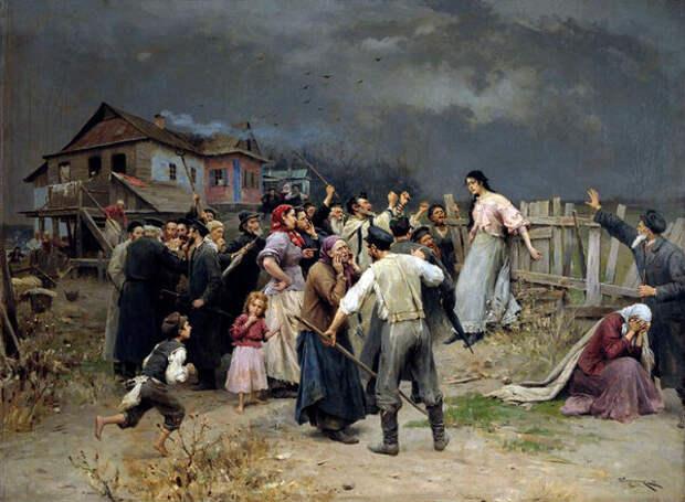 """На картине 19 века """"Жертва фанатизма"""" художник изобразил, как еврейская община проклинает свою дочь, связавшуюся с христианином. С Голдой-Екатериной произошло примерно то же самое, только сделано это было дистанционно."""