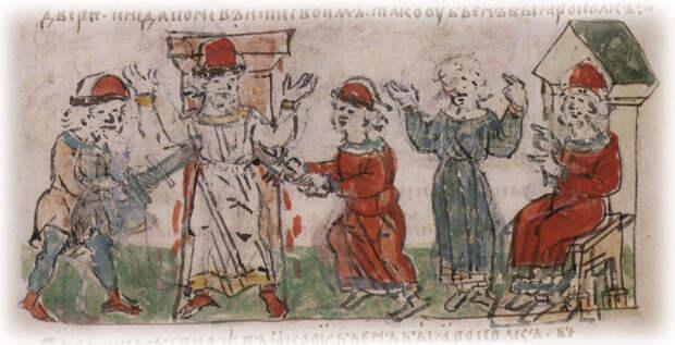 Убийство Ярополка (летописная миниатюра) (Иллюстрация из открытых источников)