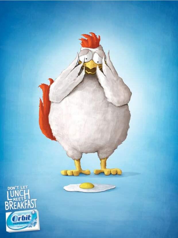 Wrigley Orbit: Chicken, Orbit, Gitam BBDO, Israel, William Wrigley Jr. Company, Печатная реклама