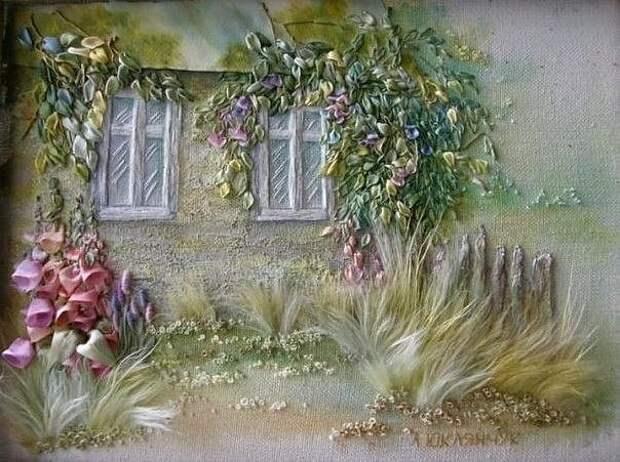 Живые картины от Анжелы Юклянчук. Она не вышивает, она рисует лентами, едва касаясь полотна! Настоящий талант от Бога!
