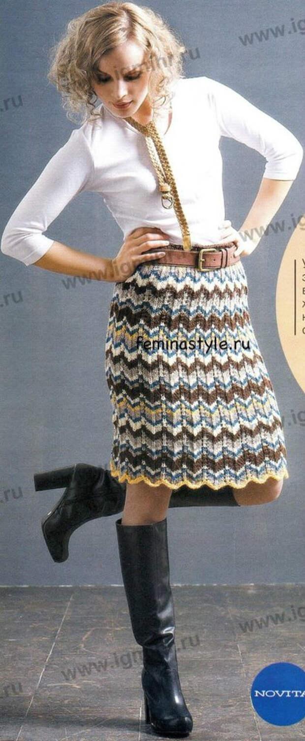 Вязание спицами юбки в полоску