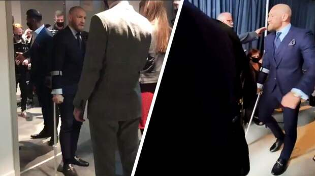 Макгрегор на костылях пришел на пресс-конференцию после боя с Порье