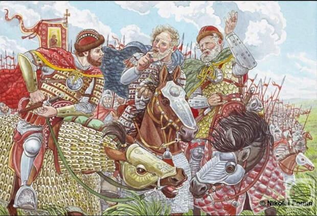 Три Мстислава — Галицкий, Киевский и Черниговский (Иллюстрация из открытых источников)