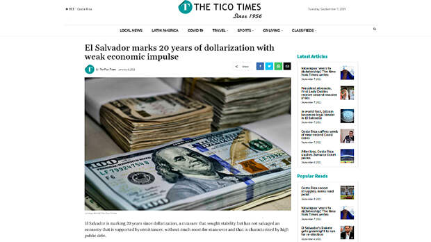 Скриншот страницы ticotimes.net