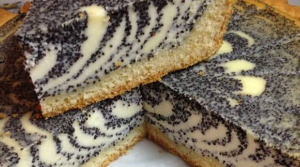 Необычный творожный пирог с маком «Зебра»