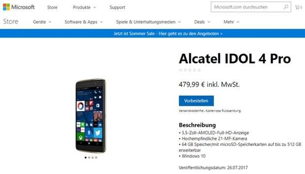 Alcatel Idol 4 Pro на Windows 10 добрался до Европы через полтора года после анонса