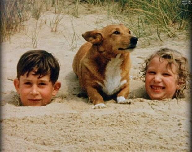Принц Чарльз и принцесса Анна зарыты в песке на пляже. Холкхэм, Норфолк, Великобритания, 1957 год  история, люди, фото