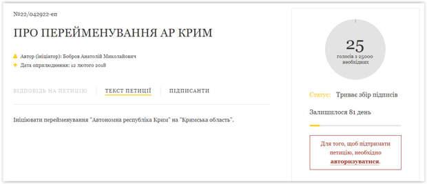 На Украине создали петицию с требование переименовать Крым