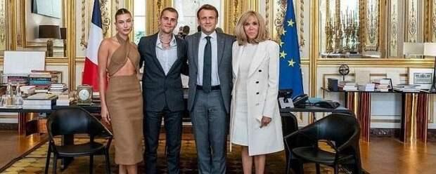 Джастин Бибер и Хейли Болдуин встретились с президентом Франции