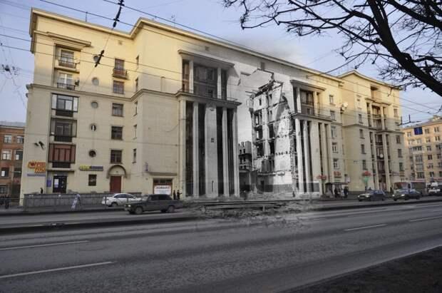 Ленинград 1943-2013. Ивановская 9. Разрушенный дом 1940 года постройки блокада, ленинград, победа