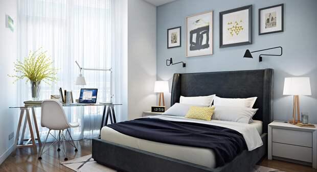 Спальня-кабинет в одной комнате: как обустроить рабочую зону при недостатке места (59 фото)