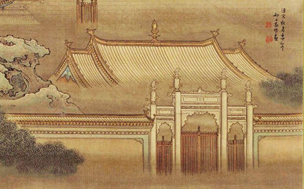 Фрагмент картины «Осенняя луна над Ханьским дворцом» Юань Яо, династия Цин