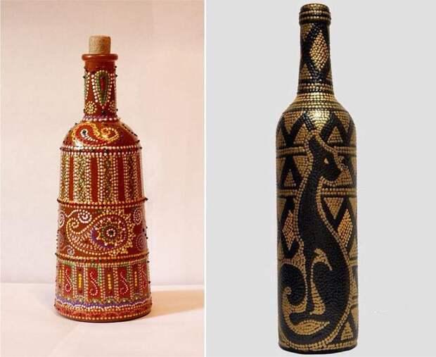 Точечная роспись бутылок