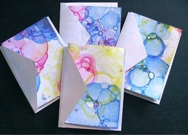 Декор бумаги мыльными пузырями
