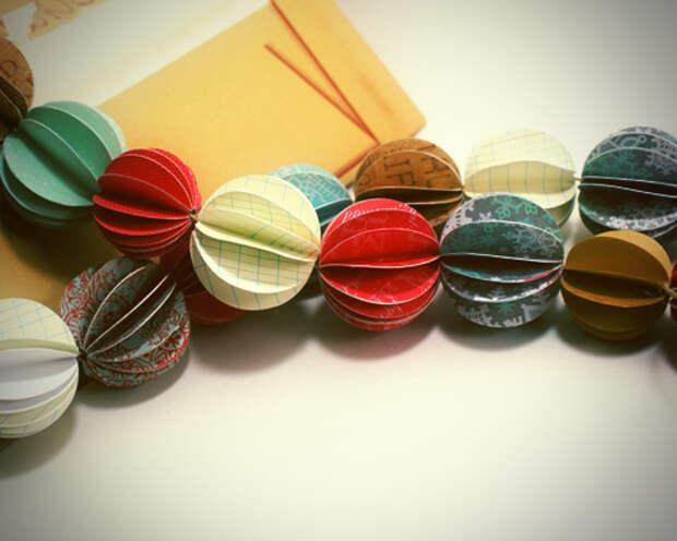 Делаем гирлянду из бумажных шаров, Праздник, Рождество, Новый год, елка, гирлянды, бумага, мастер-класс