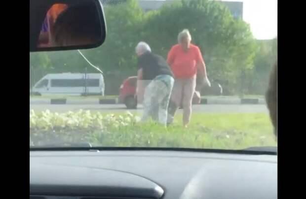 В Рязани сняли на видео женщин, выкапывающих городские цветы