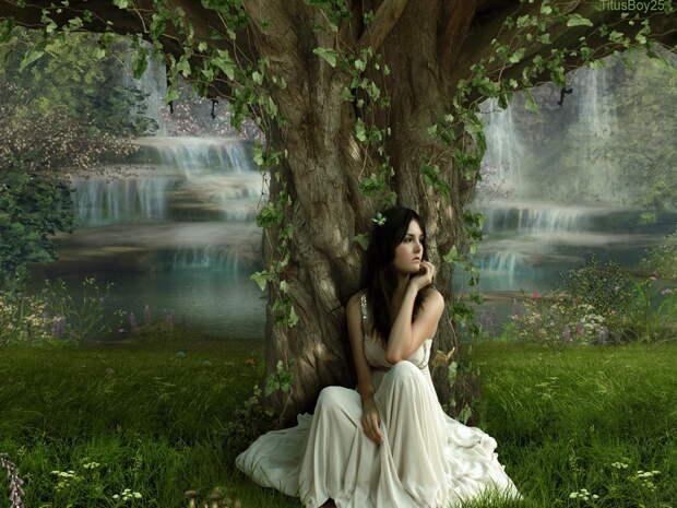 1600x1200 платье, Девушка, дерево обои на рабочий стол 18908