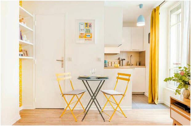 Жёлто-белая кухня в скандинавском стиле