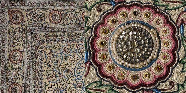 Жемчужный ковер Барода, инкрустированный бриллиантами. 1865 по 1870 год. Материал:  смесь шелковых нитей и оленьей шкуры