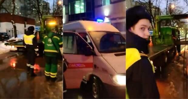 Московские эвакуаторщики не пропускают скорую помощь с включенными спецсигналами авто, беспредел, видео, мади, скорая помощь, спецсигнал, эвакуатор, эвакуация
