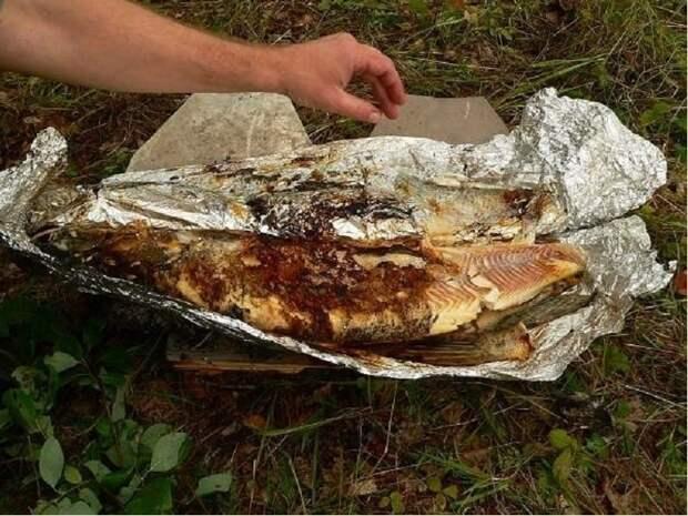Рыба в фольге на костре