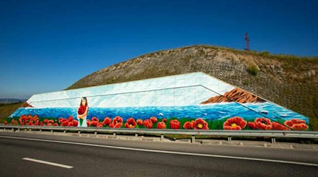 Художники раскрасили подпорную стену трассы «Таврида» ко Дню России