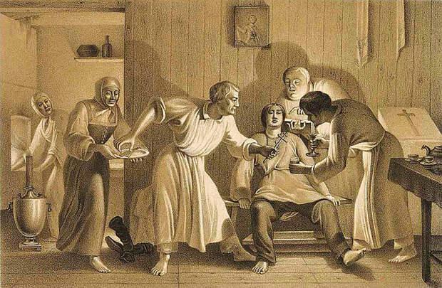 Оскопление. Литография из «Исследования о скопческой ереси Даля» от 1844 года