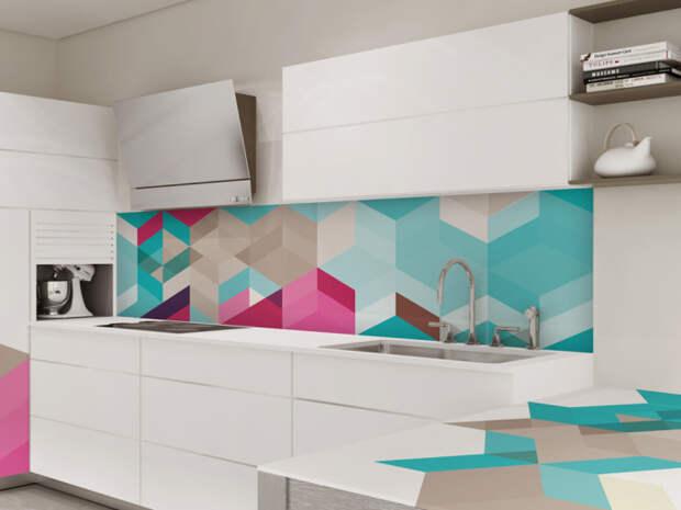 Абстрактный рисунок на кухонном фартуке.