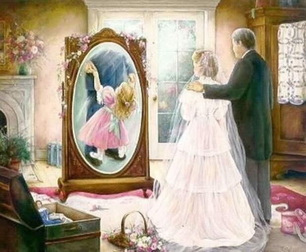 Папа и дочка крестиком Жозефина