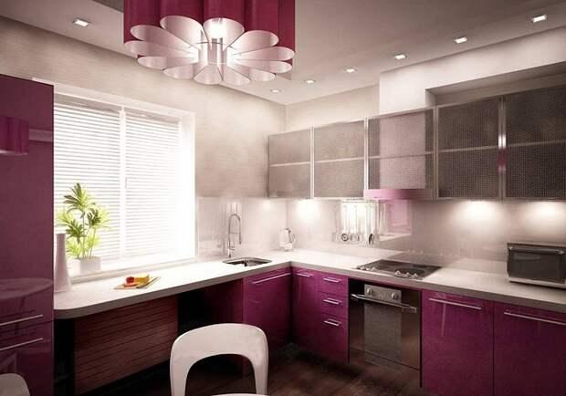 Отменное оформление кухни в нежно-малиновых тонах, что станет просто оригинальным и отличным решением.