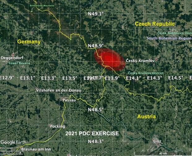 Вымышленный астероид NASA ударил по Чехии