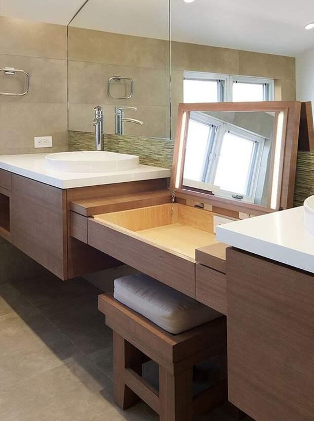 Да, ванная здесь просто огромная, но идея, на мой взгляд, заслуживает внимания Фабрика идей, интересное, мебель, полезное, трансформеры, эргономичность
