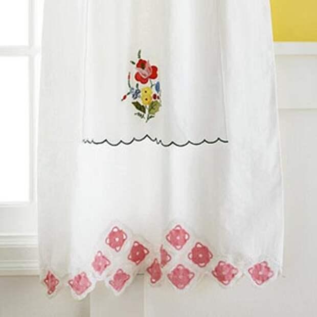 Мини-бикини: кухонные шторы из небольших кусочков ткани