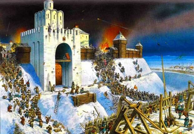 """панорама """"взятие Батыем Киева в 1240 году"""", обратите внимание, как резво бегут ордынцы по отвесным обледеневшим склонам - человек-паук нервно курит в сторонке"""