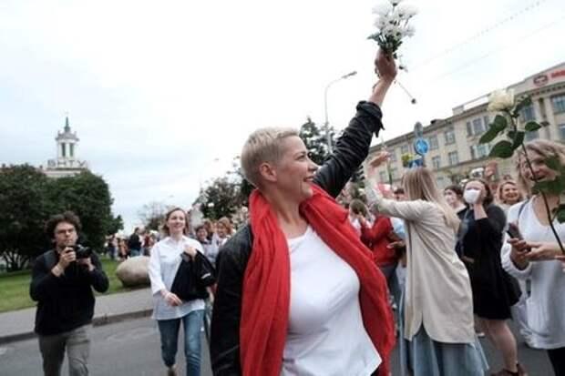 Белорусский оппозиционный политик Мария Колесникова на демонстрации в Минске, 29 августа 2020 года. BelaPAN via Reuters