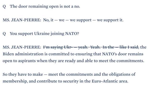 Белый дом отредактировал стенограмму с упоминанием Украины и НАТО